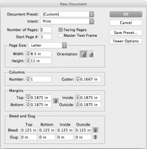 image of InDesign new document settings